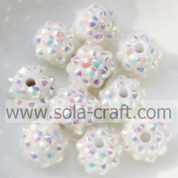 10*12MM Solid White AB Resin Rhinestone Ball Beads For Chunky Earring Making