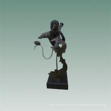 Büsten Messing Statue Cellist Dekoration Bronze Skulptur Tpy-482