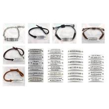 17см Мода Бесплатный пользовательских Серебряная пластина кожаный браслет