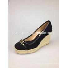 Клин сандалии новых 2014 летних женщин подлинной кожи обуви тапочки женщина сандалии кристалл украшения черный причинно обувь