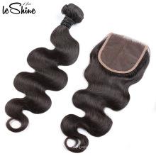 Distribuidores de cabello humano al por mayor Grado 9a Virgen Remy Hair Bundles Body Wave Lace Closure