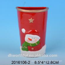 Decoración de Navidad humidificador de aire de cerámica con figura de muñeco de nieve
