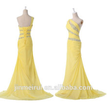 Light Yellow One Shoulder Beaded Chiffon Long Prom Gown Formal Prom Dresses