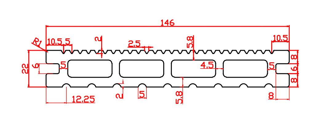 146 x22mm 4 holes plank