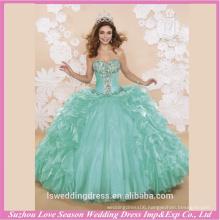 LQ0002 Fashion strapless sleeveless green colored beads top ball gown big skirt design your quinceanera dress fiesta dresses