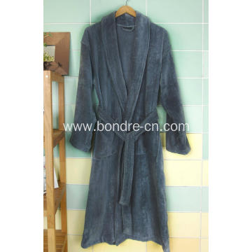 Valable  Men's Fleece Bathrobe With Large Lapel