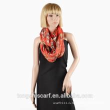 2016 Весна/Лето женская жатая печатных полиэфира маркизет круг шарф петля шарф