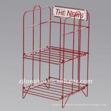 Fábrica directo personalizado barato resistente 2 capas de metal stand stand pie libre folleto
