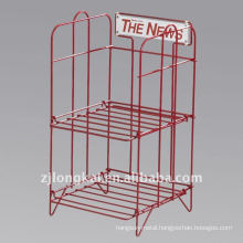 Factory direct customized cheap sturdy 2 tiers metal free standing brochure stand