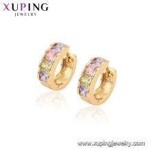 96829 xuping fashion hoop boucles d'oreilles en pierre multicolore plaqué or