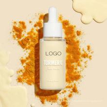 Açafrão orgânico de marca própria soro de leite facial brilhante para pele maçante brilhante