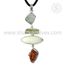 Neue anmutige Sunstone, MOP, Aquamarine Edelstein Anhänger handgefertigte 925 Sterling Silber Schmuck Jaipur Online Schmuck