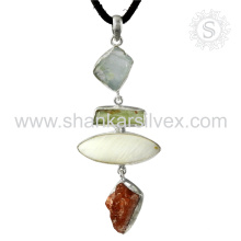New Graceful Sunstone, MOP, Aquamarine Gemstone Pendant À la main 925 Bijoux en argent sterling Jaipur Bijouterie en ligne