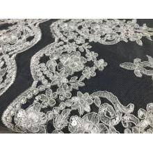 tissu de broderie de conception de mariage de paillettes blanches