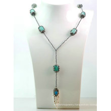 New Design Jewelry DIY Hematite Natural Gemstone Turquoise Necklace Pendant