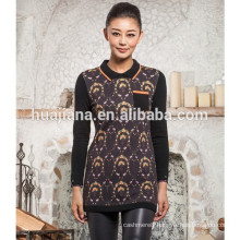 polo neck women's 100% cashmere printing sweater