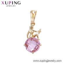32866 venta caliente mujeres elegantes joyería diosa diseño en forma de círculo colorido colgante de piedras preciosas