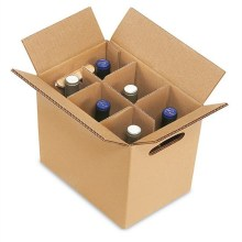 Cardboard 6 bottles wine boxes with separating grid