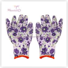 Gants trempés de travail de sécurité de femmes de polyester de nitrile de 13gauge pour le jardinage