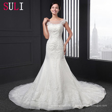 Q-010 de alta qualidade Tulle Lace Appliques Beaded Mermaid Wedding Dress 2016