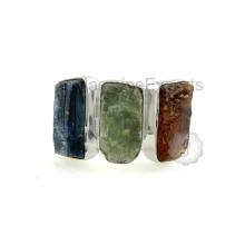 Hermoso azul, verde y naranja Kyanite Sterling Silver Gemstone Ring