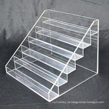 6 Tiers Clear Perspex Estantería de exhibición, OEM / ODM Acrylic Pop Display Stands