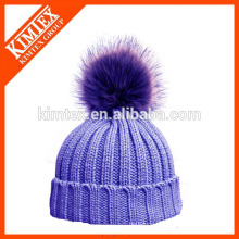 Acrylic custom knitted lady knitted winter cap