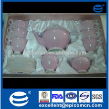 2014 stock for promotion pink bone china tea set in gift box