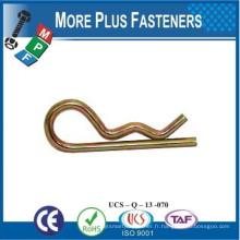 Fabriqué à Taiwan Attache Pin Clip ou R Clip ou R Pin ou R Key Acier au carbone en zinc plaqué