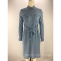 модный тенсел джинсовая ткань пояса женская рубашка платье