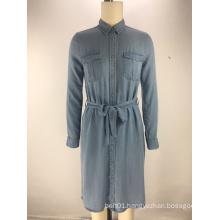 fashion tencel denim fabric belt ladies shirt dress