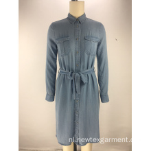 mode tencel denim stof riem dames shirt jurk