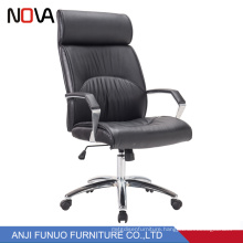 Aluminum Base Big Leather Executive Revolving Chair For Office