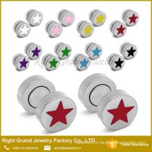 Venda quente personalizado-de-rosa, azul, vermelho, preto estrela magnética falso brincos plugues