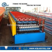Machine à formage de rouleaux de toit métallique en aluminium glacé en aluminium à double couche automatique complète à vendre