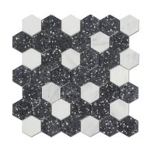 Cheap Black Honed Terrazzo Mixed White Marble Hexagon Flooring Mosaic Decorative