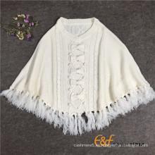 Borlas de cuello redondo para mujer capa de suéter blanco con bowknot
