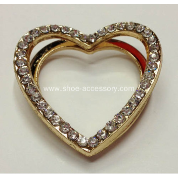 Vintage Heart Metal Bikini Buckle with Rhinestone, Clothes Accessories, Shoe Ornaments