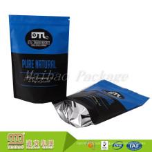 Custom Design Stand Up Black/Blue Aluminum Foil Lined Plastic Food Packaging Bag Zipper