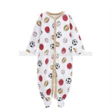precio barato personalizada bebé de impresión onesie fútbol impreso bebé tejido mameluco para recién nacido