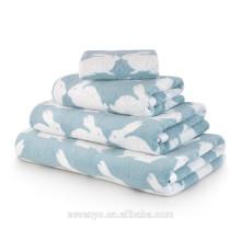 Hot sales 100% cotton Jacquard Kissing Rabbit Bath towel set ,Light Blue Wholesale BtT-137 China Factory