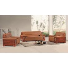 Elegante marrón cuero genuino y madera antigua oficina sofá conjunto, muebles de oficina diseño