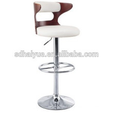 leather swivel metal bar chair / swivel Comfortable round barstool beauty design modern