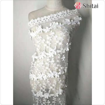 new white embroidery mesh fabric