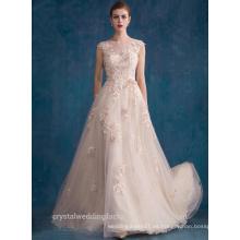 Alibaba Elegante Applique Long Nuevo Diseñador O Cuello Color Nupcial Tulle Beach Vestidos de noche o vestido de dama de honor LE20