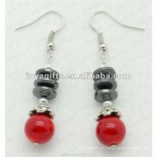 Moda Hematite Beads Brinco, contas de hematita e prata brincos cor brinco hematite brincos 2pcs / set