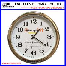 Logotipo personalizado de impresión de plástico redondo reloj de pared de plata de marco (Item23)