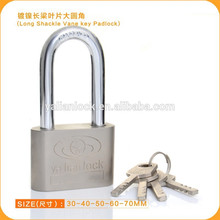 Nickle Plated Long Shackle Iron Padlock With Vane Key