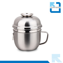 2-Layer Stainless Steel Snack Cup / Takeaway Food Bowl