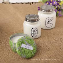 Bougie parfumée blanche et naturelle faite à la main de soja